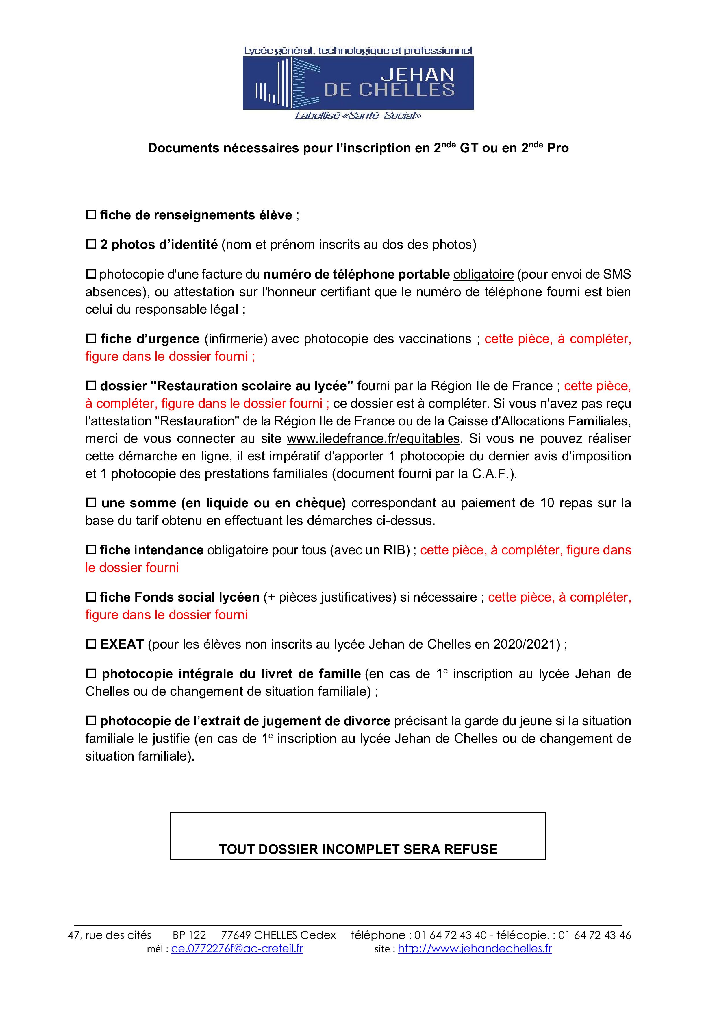 R 2021 - Documents pour Inscription en 2nde GT ou 2nde PRO-1